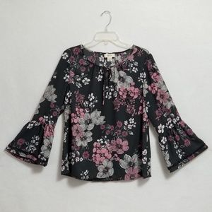Style &Co Floral Print Bell Sleeve Top Size Small